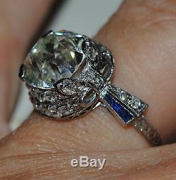 Sale Antique 4.97ct Gia I Si1 Old Cut Diamond Platinum Sapphire Diamond Ring