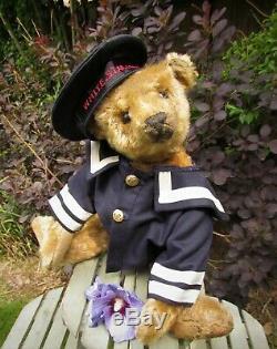 Skipper, Antique Old Mohair Steiff Teddy Bear With Blank Button