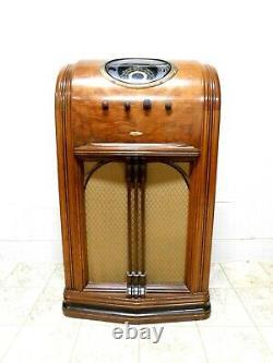 VINTAGE 1930s OLD RESTORED ADMIRAL ULTRA ART DECO DEPRESSION ERA ANTIQUE RADIO