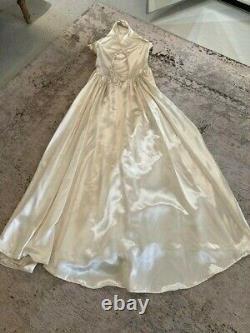 VINTAGE 1940s Liquid Satin Wedding Dress Halter Old Hollywood Rockabilly Bride