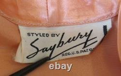 VTG 1940s Old HOLLYWOOD SAYBURY Peach SATIN Dressing Gown TRAPUNTO SLVES
