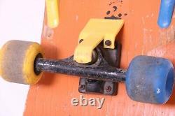 VTG 1980's Vans Off The Wall Orange Old School Wheels Trucks Deck Skateboard