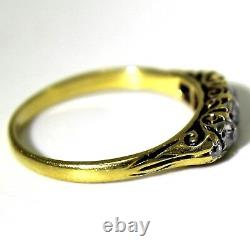 Victorian 0.40ct Old Cut Diamond 18ct Yellow Gold Boat Ring size K 1/2 5 1/2
