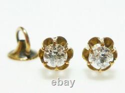Victorian 14k Yellow Gold Old European Cut. 34ct Stud Earrings Antique Set Pair