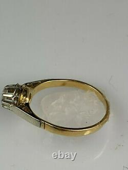 Victorian 18K Antique Gold Ring with Rose Cut Diamond, very old diamond cut