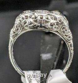 Vintage 18kt White Gold Art Deco Old 3 Stone Diamond Filigree Antique Ring NICE