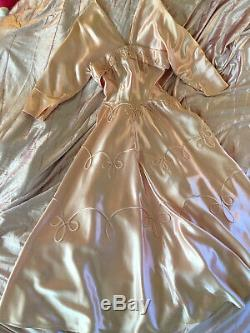 Vintage 1930's Satin Evening Gown I Magnin Haute Contour Old Hollywood