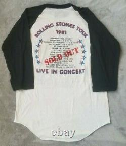 Vintage 1981 Rolling Stones Stadium Tour Raglan Men's XL New Old Stock