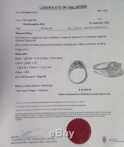 Vintage 2.21ct European Old Cut Diamond Handmade Platinum Ring Size L Val $12290