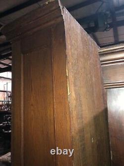 Vintage 2 door OAK upright kitchen hutch cabinet old varnish 89 x 50.5 x 15
