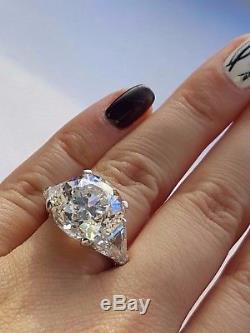 Vintage Antique 11.84 ct Platinum Old European & Trillion Cut Diamond Ring