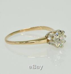 Vintage Antique 14k 8 Prong 3/4CT Old Mine Cut Diamond Solitaire Engagement Ring