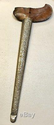 Vintage Antique 1800 Arab Kris Dagger Knife Sword Wooden Handle WithScabbard Old