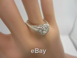 Vintage Antique 18K White Gold 0.24 CT Diamond Filigree Ring Old European Cut