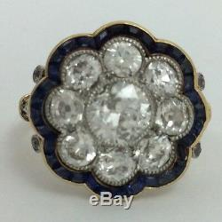 Vintage Antique 18k Yellow Gold Old Miner Diamond Sapphire Flower Ring
