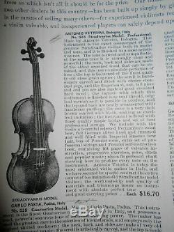 Vintage Antique Old Antonio Vettrini 1 Pc. Back Full Size Violin No Reserve