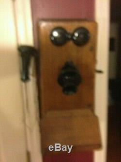 Vintage Antique Old Wall Telephone, Oak, circa 1890-1920