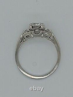 Vintage Antique Platinum 3 Stone Old European Diamond Engagement Ring 1.07ct