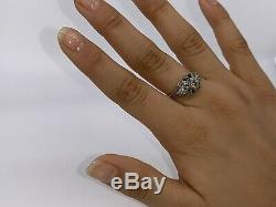 Vintage Art Deco 18k White Gold Old European Diamond Sapphire Filigree Ring Sz 6
