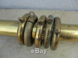 Vintage Brass Curtain Pole & Rings Rod Architectural Antique Old 43