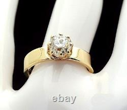 Vintage Circa 1879 Old Mine Cut Diamond Engagement Ring 18K Solid Yellow Gold