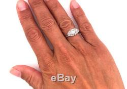 Vintage Diamond Engagement Ring 1ct Old Euro Platinum Antique Art Deco