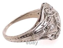Vintage Diamond Engagement Ring. 28ct Old Euro Antique Platinum Art Deco