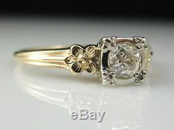 Vintage Diamond Engagement Ring Old European Cut 14K Two-Tone Antique Estate