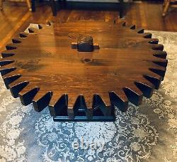 Vintage Ethan Allen Rotating Cog Wheel Coffee Table Old Tavern Collection RARE