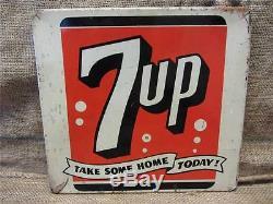 Vintage Metal 7up Display Sign Antique Old Soda Pop Cola Store Beverage 9125