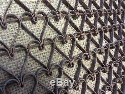 Vintage Metal Linked Floor Mat Heart Design Antique Old Welcome RARE! 8739