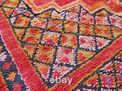 Vintage Moroccan Azilal Rug Handmade Area Carpet Old Berber Tribal wool Kilim