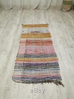 Vintage Moroccan Handmade Rug Old Berber Boucherouite Azilal Rug 6' x 2'62 Feet
