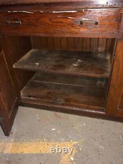 Vintage OAK upright hutch cabinet old varnish 76 x 69 x 23 school house unit