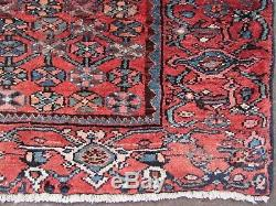 Vintage Old Traditional Hand Made Oriental Red Blue Wool Large Rug 183x131cm