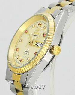 Vintage TITONI Cosmo King Rotomatic Steel Gold New Old Stock Mens Wrist Watch
