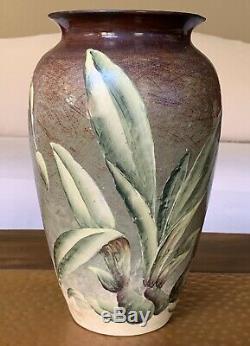 Vintage Weller Pottery Company Floral Vase Over Glaze Decoration Old Antique Vtg