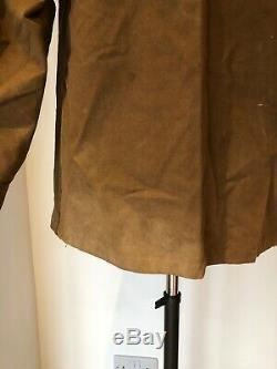 Vintage Worn French Farmer Hunter Jacket Brown Duck Cotton Chore Workwear Old