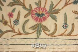 Vintage crewelwork wool bedspread bed cover spread French old coverlet 88X66