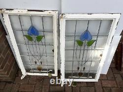 Vintage old Antique Art Nouveau Stained glass Crittal Windows 36.5x20 pair (2)