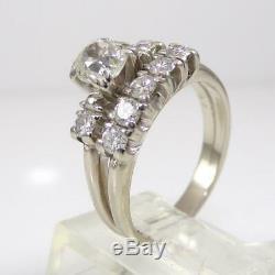 Vtg Antique 14K White Gold Ring Old Mine Cut Diamond Wedding Set Size 7 LHE2