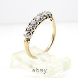 Vtg Antique Early Old Mine Cut Diamond 14K Yellow Gold Ring Band Size 7 LHE3