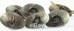 Vtg Antique Set Of 6 Southwestern Old Pawn Stelring Silver Turquoise Buttons