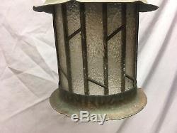 Vtg Arts Crafts Copper Porch Ceiling Light Fixture Leaded Glass Old 486-18E
