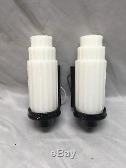 Vtg Black Ceramic Sconce Pair Skyscraper Milk Glass Shades Old Art Deco 226-18E