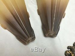 Vtg Brass Art Deco Sconce Pair Black Tip Glass Slip Shades Old Lights 186-19E