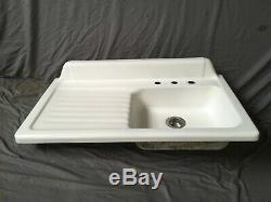 Vtg Cast Iron White Porcelain 42 Kitchen Farm Sink Left Drainboard Old 130-19E
