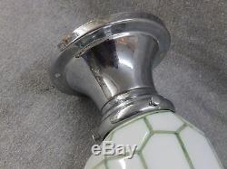 Vtg Chrome Brass Sconce Milk Glass Shade Green Lines Old Art Deco Light 2230-16