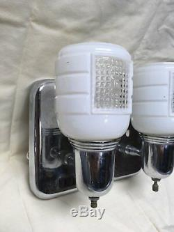 Vtg Chrome Brass Sconce Pair Old Glass Cup Slip Shades Art Deco Fixtures 311-17E