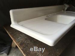 Vtg Mid Century Cast Iron White Porcelain Farm House Kitchen Sink Old 182-18E